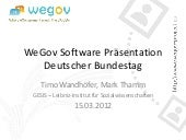 WeGov Software Präsentation (Prototyp 2.5) im Bundestag