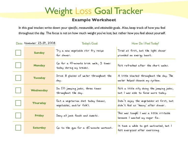 Weight Loss Goal Setting Worksheet - Rringband