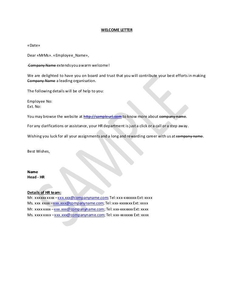 Welcome Letter To New Employee Sample from cdn.slidesharecdn.com