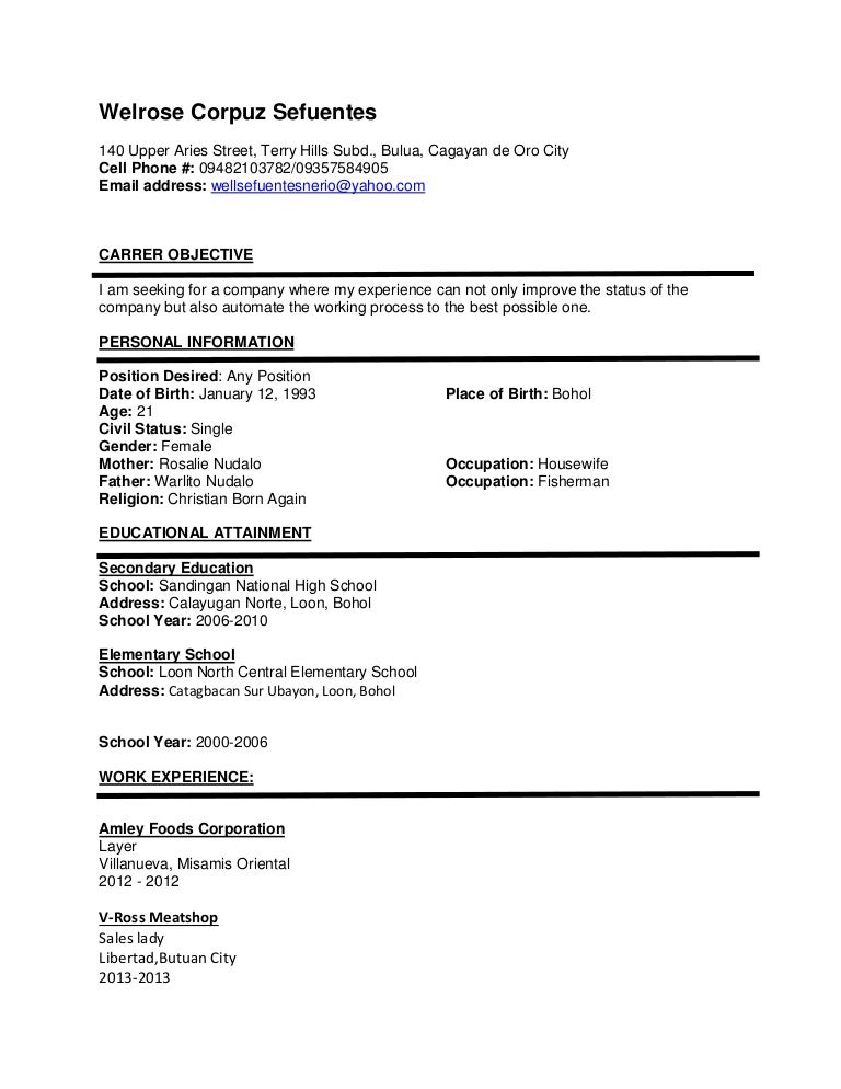 resume from housewife