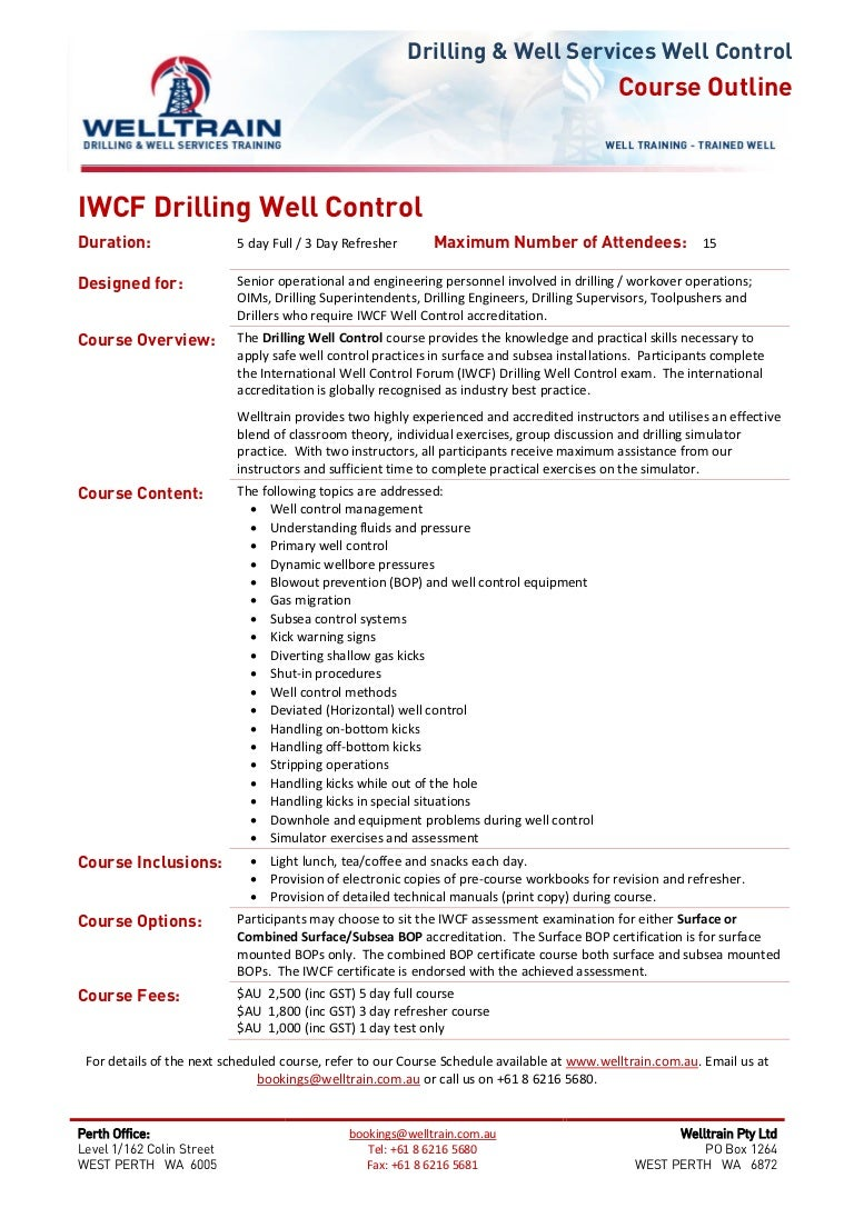 welltrain course iwcf drilling well control rh slideshare net IWCF Certificates IWCF Certificates Level 4