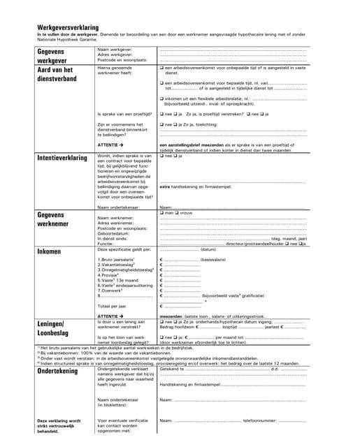 Werkgeversverklaring Nieuw 10 02 2009