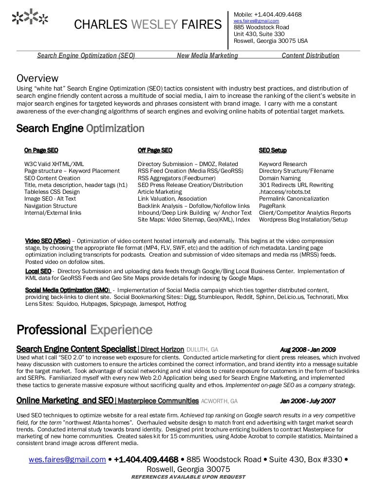 wes faires search engine optimization seo resume