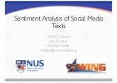 Kishaloy Haldar and Wenqiang Lei - WESST - Sentiment Analysis of Social Media