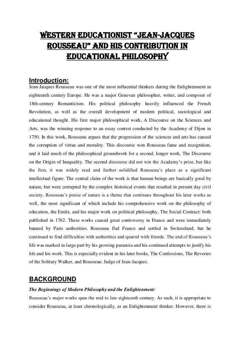 English Essays Examples Rousseau Essay Western Educationist Jean Jacques Rousseau Essays On  Persuasive Essay Topics For High School Students also Research Essay Thesis Statement Example Rousseau Essay  Romefontanacountryinncom Argumentative Essay Thesis Statement Examples
