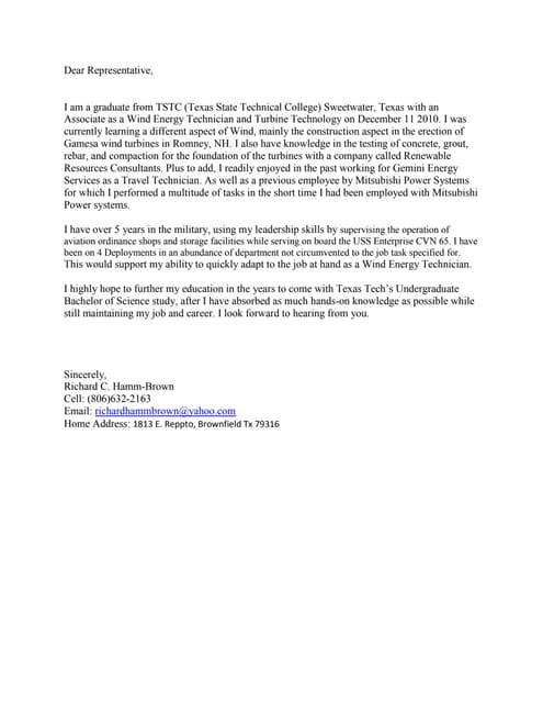 cover letter for technician