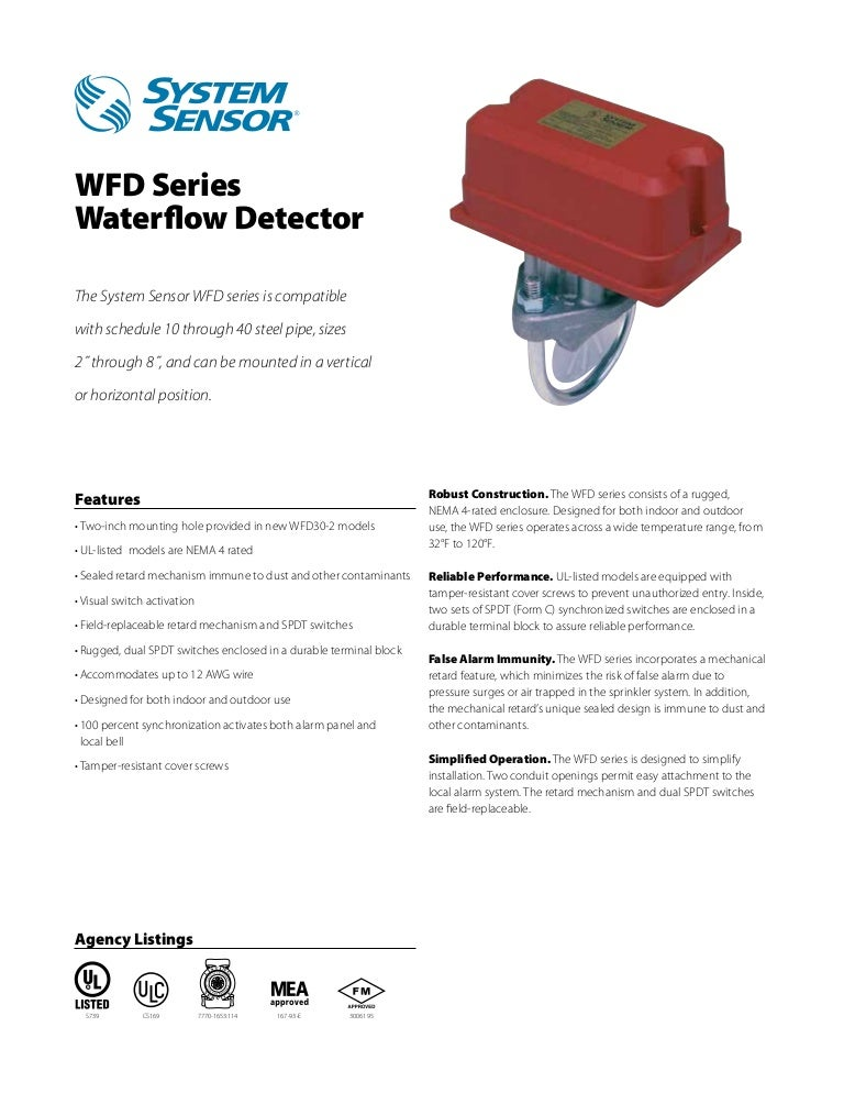 """8/"""" Pipe Size New System Sensor WFD80  Waterflow Detector"""