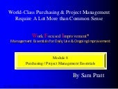 Module 8: Purchasing & Project Management Essentials