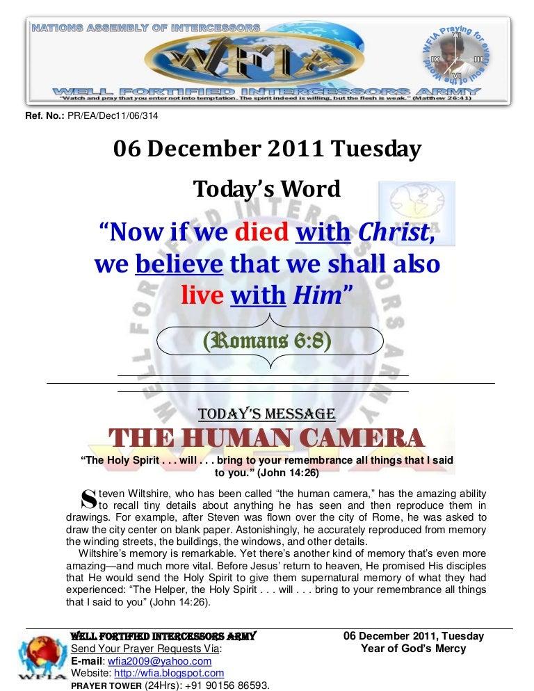 WFIA, Prayer For 06 December 2011