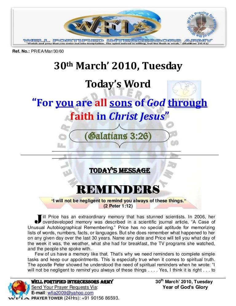 WFIA, Prayer For 30th March 2010