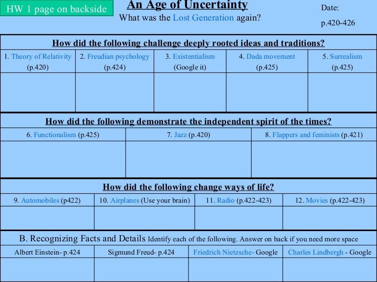 wwi age of uncertainty rh slideshare net  guided reading postwar uncertainty answer key