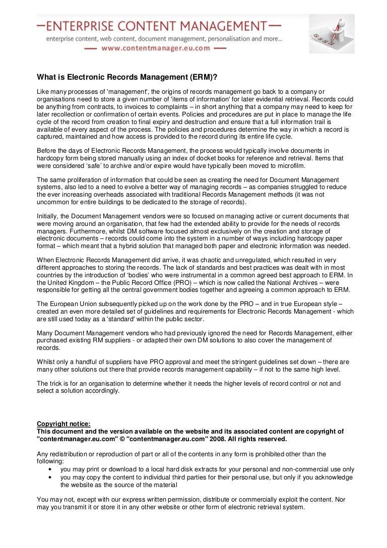 Amazing Electronic Records Management Resume Crest - simple resume ...