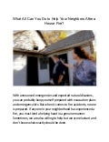 What all can you do to help your neighbors after a house fire?