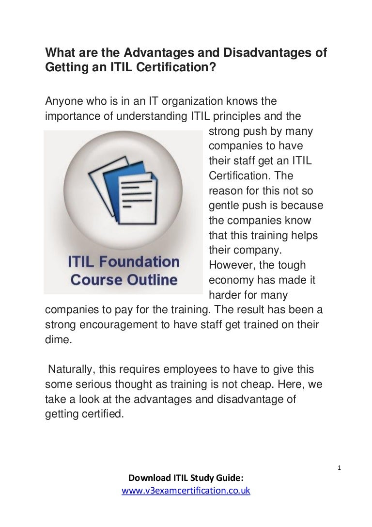 What are the advantages and disadvantages of getting an itil certific xflitez Choice Image