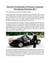 What are the benefits of hiring a limousine hire service charlotte
