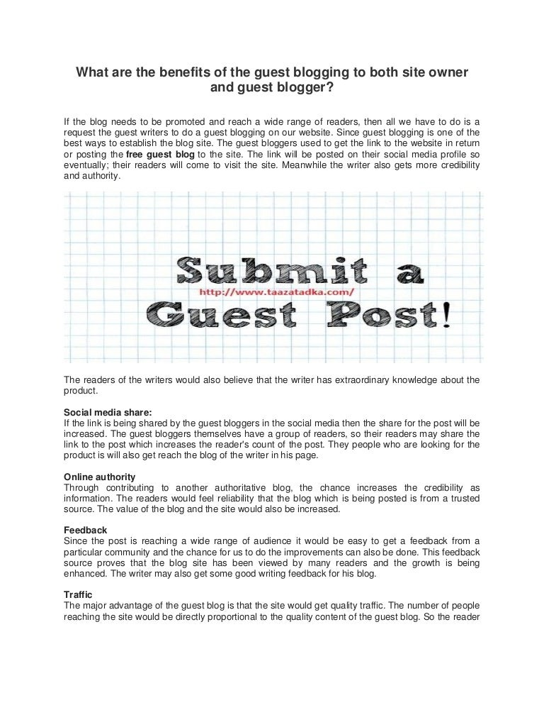 What are the benefits of the guest blogging to both site owner and gu…