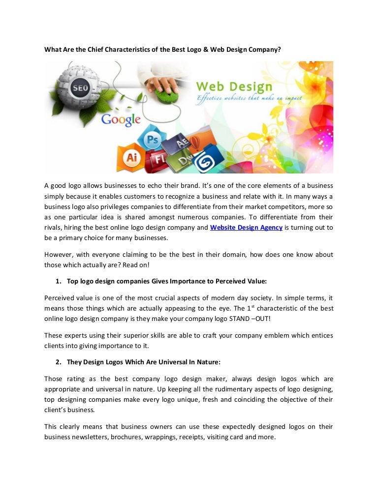 What Are The Chief Characteristics Of The Best Logo Web Design Comp