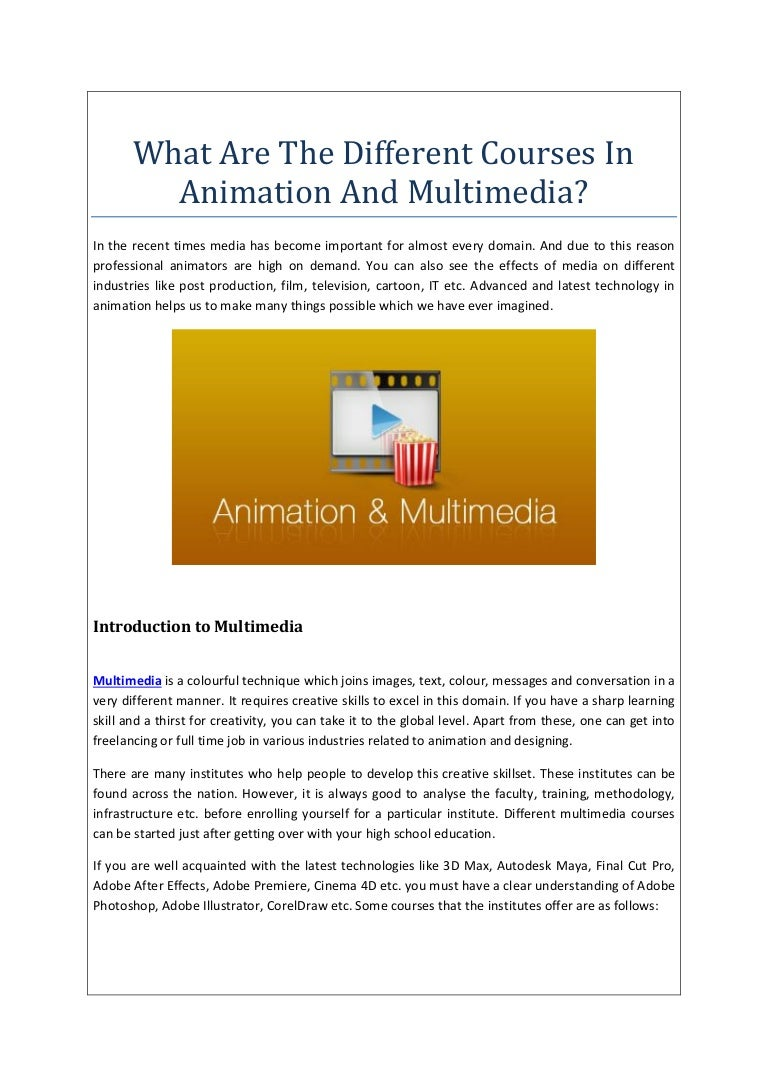 What Are The Different Courses In Animation And Multimedia?