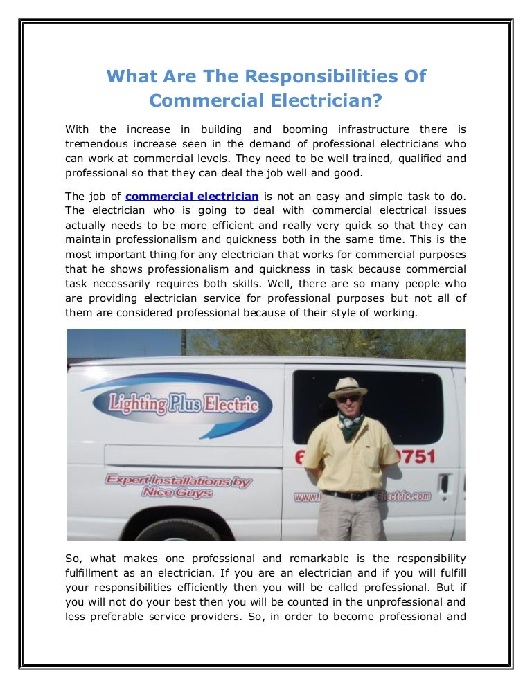 What Are The Responsibilities Of Commercial Electrician