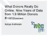 What Donors Really Do Online: Nine Years of Fundraising Data from 1.8 Million Donors Uncovered and Interpreted (11NTCDonorweb)