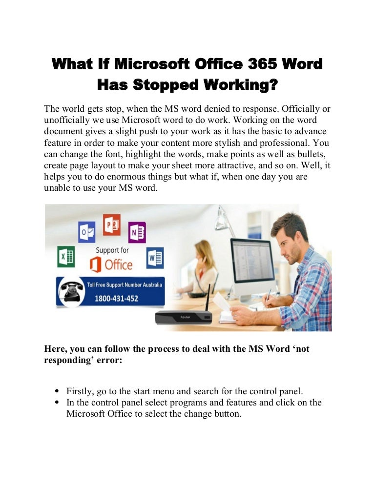 What if microsoft office 365 word has stopped working