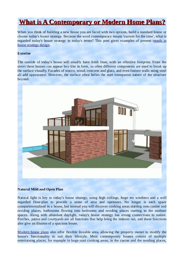 What Is A Contemporary Or Modern Home Plans