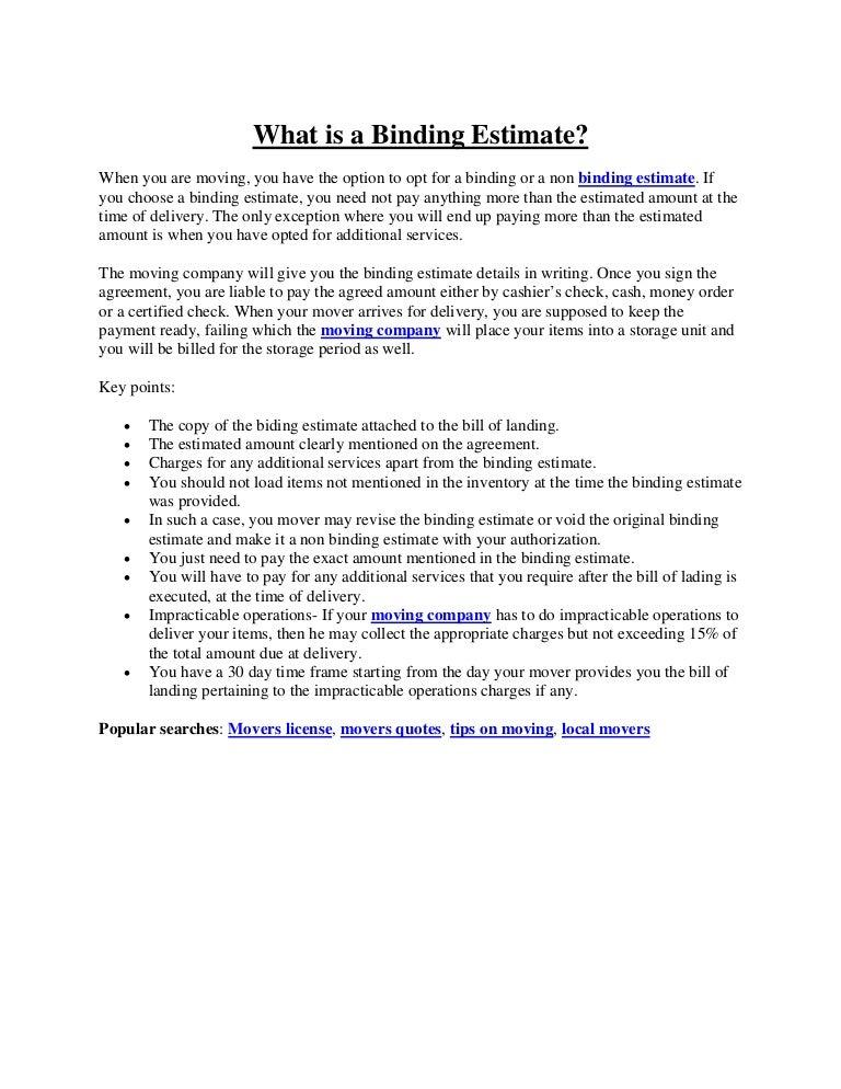 What Is Binding Estimate