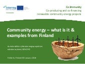 What is community energy and examples from Finland