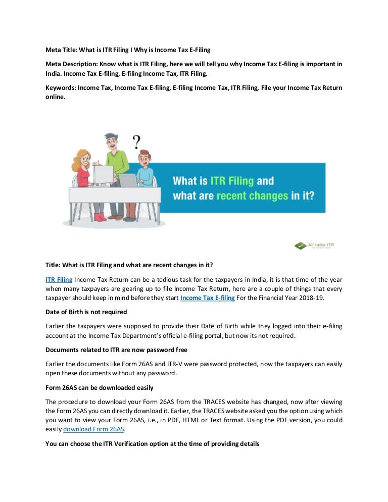 What is itr filing and why is income tax filing