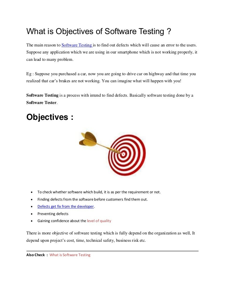 what is objectives of software testing