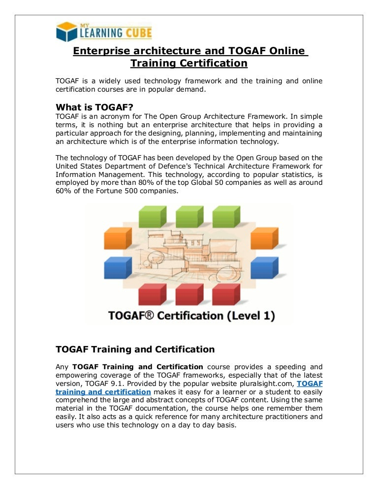 Enterprise Architecture And Togaf Online Training Certification