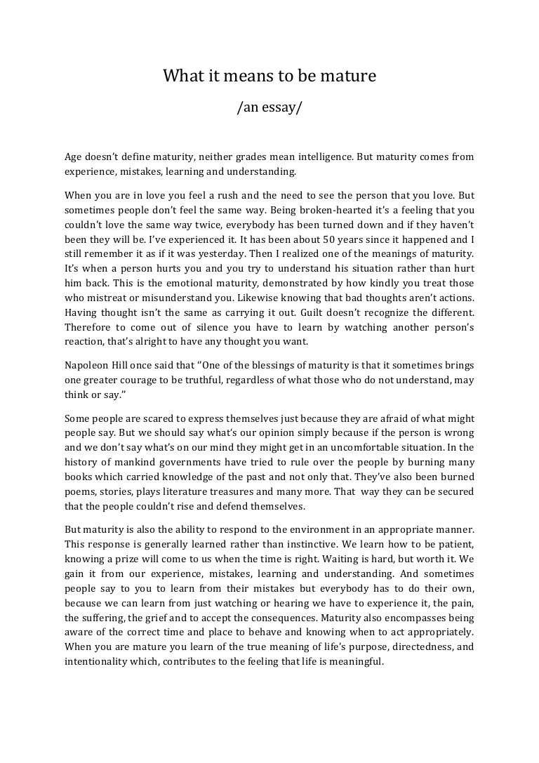 The meaning of maturity essay