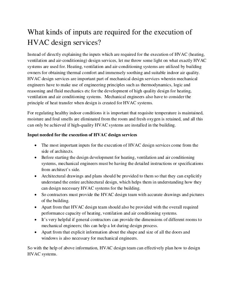 What Kinds Of Inputs Are Required For The Execution Of Hvac Design Se