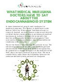 What medical marijuana doctors have to say about the endocannabinoid system