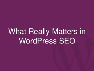 What Really Matters in WordPress SEO