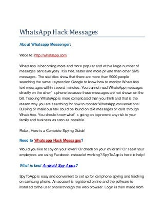 Whats app hack message