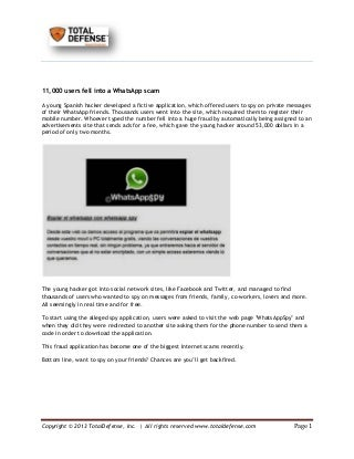 Whatsapp Spy, the fraud whatsapp application – TotalDefense Blog