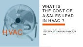 What the cost of a sales lead in HVAC ?