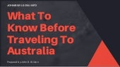 What to know before traveling to australia