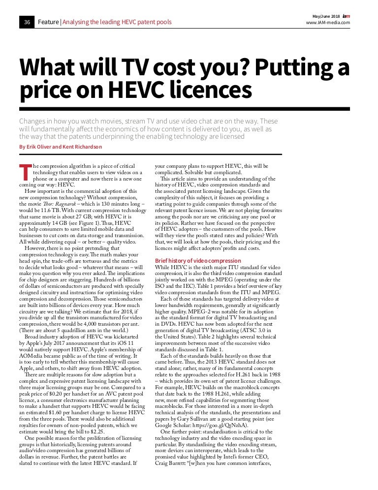 What Will TV Cost You? Putting a Price on HEVC Licenses