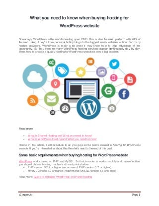 What you need to know when buying Hosting for WordPress Website