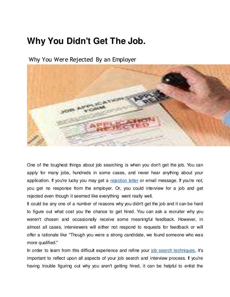 why you didn t get the job top 10 reasons you didn t get hired