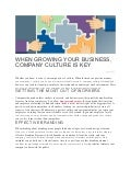 When Growing Your Business, Company Culture is Key