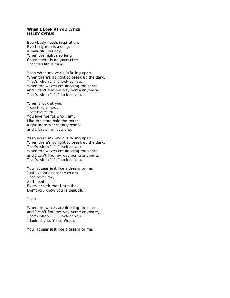 Lyric look up song by lyrics : When i look at you lyrics