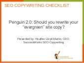 "Penguin 2.0: Should you rewrite your ""evergreen"" site copy?"