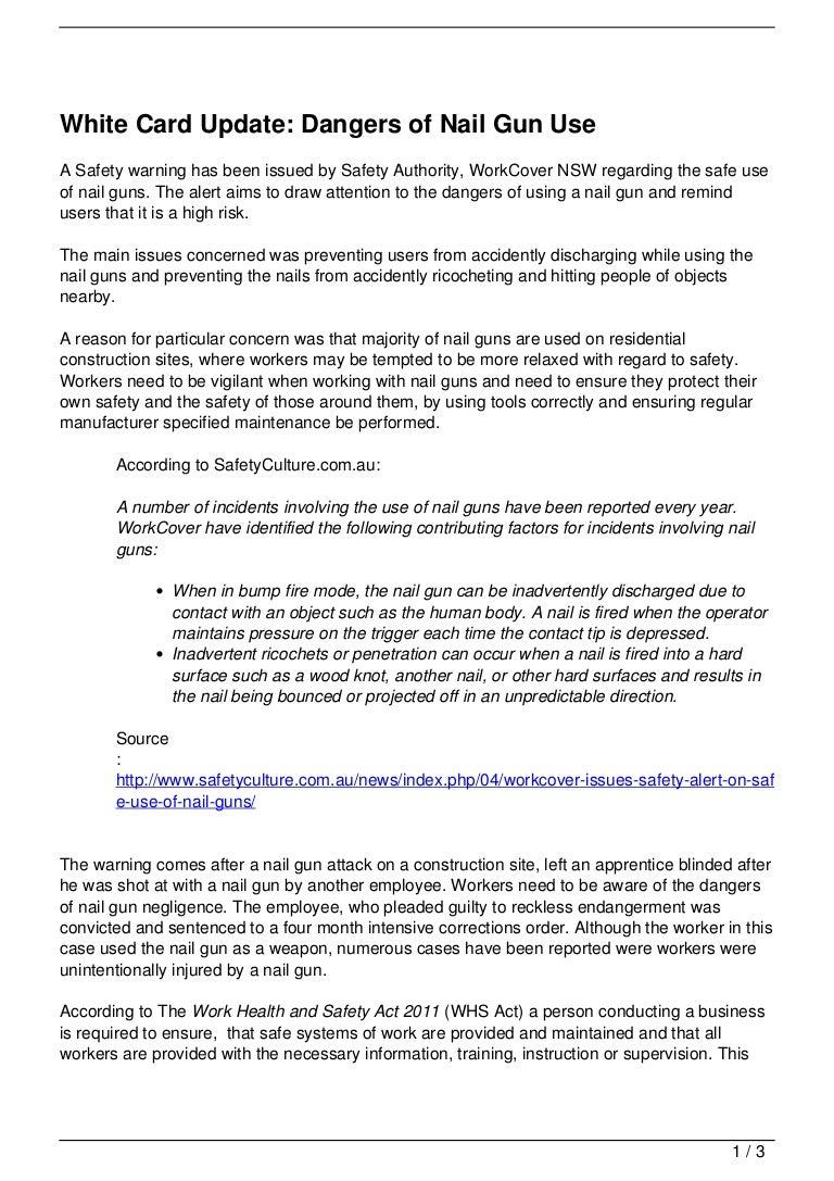 White Card Update: Dangers of Nail Gun Use