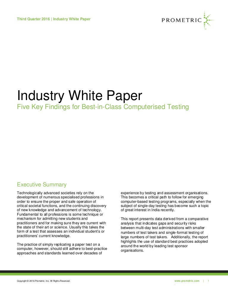White Paper Differentiators - Prometric