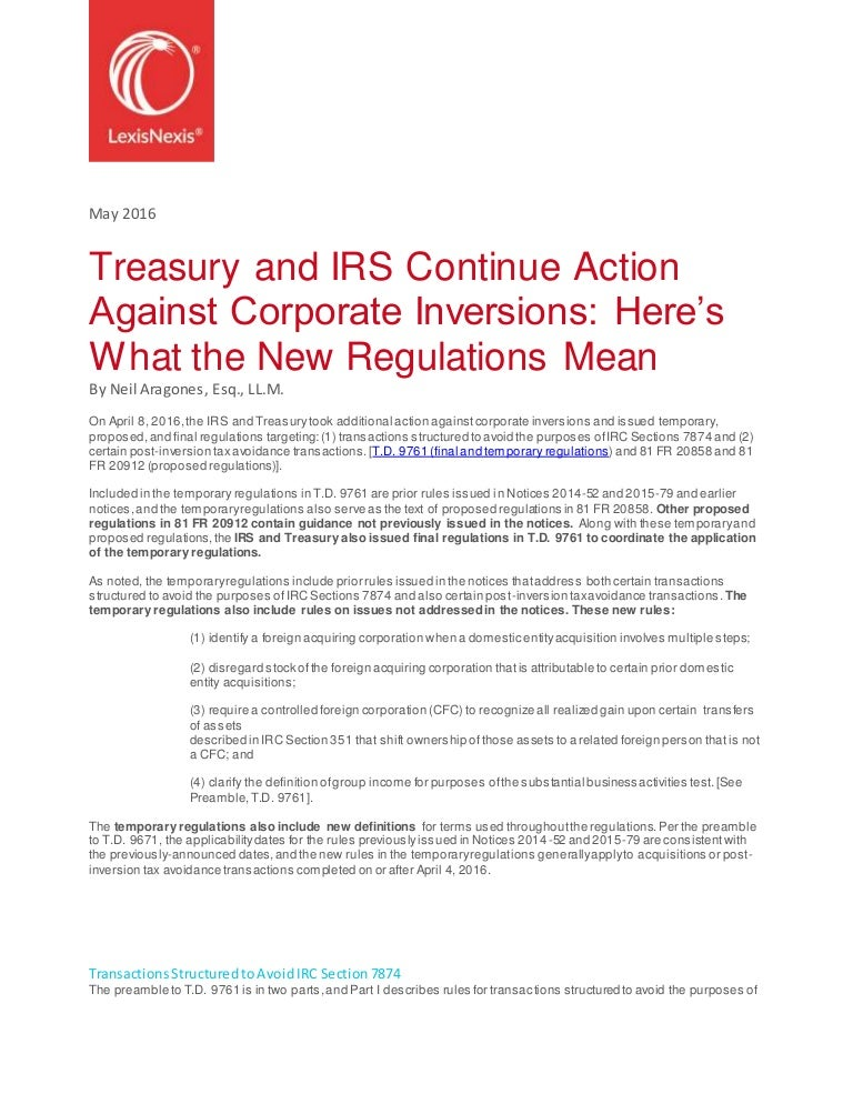 Treasury Irs Continue Action Against Corporate Inversions Whitepap