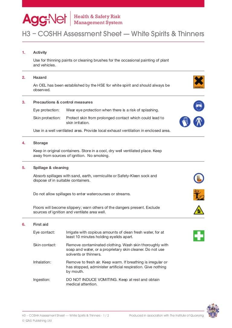 White Spirits Thinners Coshh Assessment Sheet1