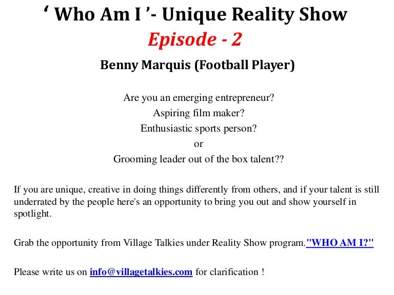 Who am i' - Unique reality show about Fitness and Health